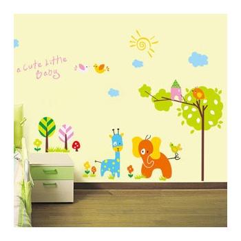 墙贴饰客厅卧室儿童房走廊楼梯背景装饰贴可爱卡通环保贴-卡通动物