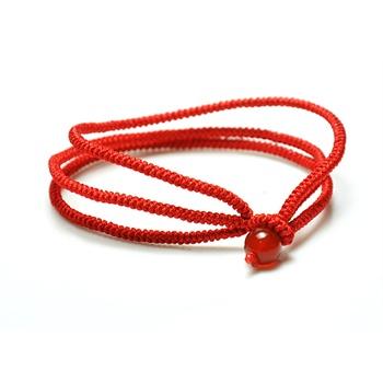 睿蓝 本命年好运红绳手链 三根绳幸运手链 红线 天然红玛瑙点缀 水晶