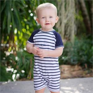 davebella 2014夏新款热销糖果色宝宝条纹连体衣/短爬/婴儿连身衣DB09
