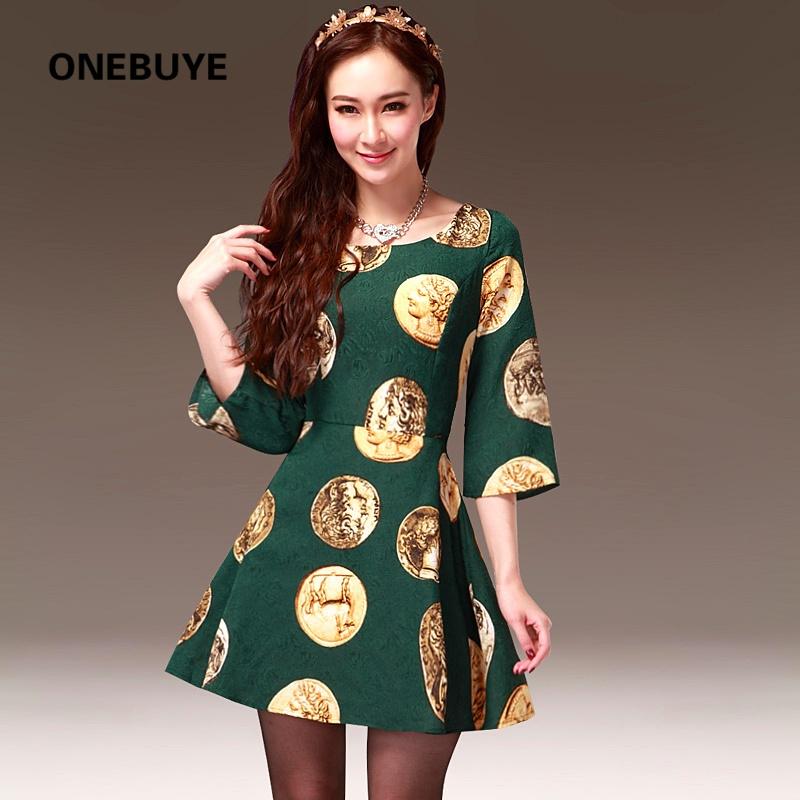 优雅气质长袖圆领复古花纹纹理欧式头像硬币印花a字连衣裙_绿色,xl