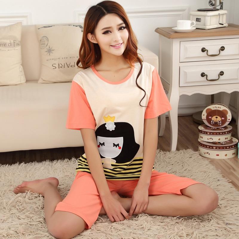 2014新款韩国可爱小女孩图案纯棉质舒适短袖夏季薄款家居服情侣睡衣