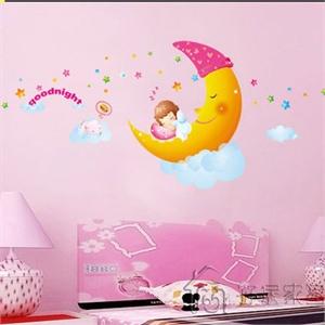 孖堡家居 diy可移除墙贴 儿童房卡通月亮墙贴 卧室幼儿园卧室温馨家装