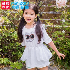 【货到付款】韩都衣舍MiniZaru 韩国2014夏装新款女童装卡通收腰短袖T恤ZY3226鋐