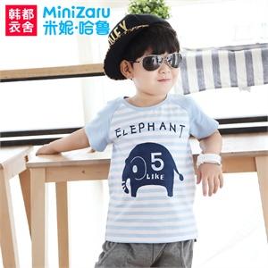 【货到付款】T恤米妮哈鲁 2014夏装新款男童装韩版条纹短袖T恤ZG3015燚