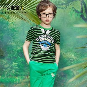 小虎宝儿童装 男童短袖套装条纹儿童套装短袖+短裤套服2014夏装新款男童套装