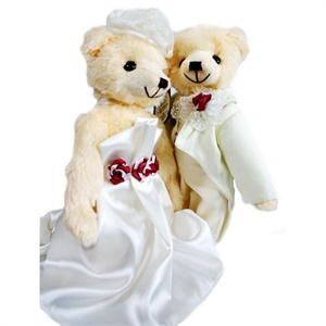 泰迪传说 泰迪熊时尚婚纱情侣对熊 拖尾长裙 纯手工制作 35cm x 10cm泰迪传说/毛绒