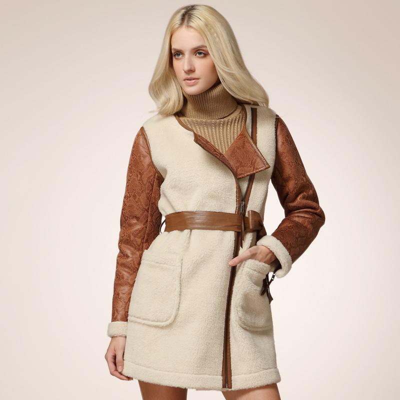 云上生活 2013英伦风冬装新款女装 复合皮草斜拉链中长款保暖羊羔绒