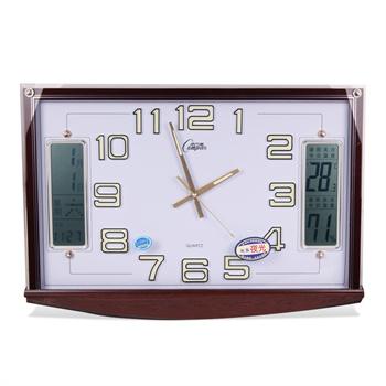 康巴丝 静音中式方形石英钟日历挂钟夜光数字钟表 2748