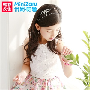 【货到付款】韩都衣舍 米妮哈鲁2014夏装新款女童装无袖圆领蕾丝T恤XC4011妤