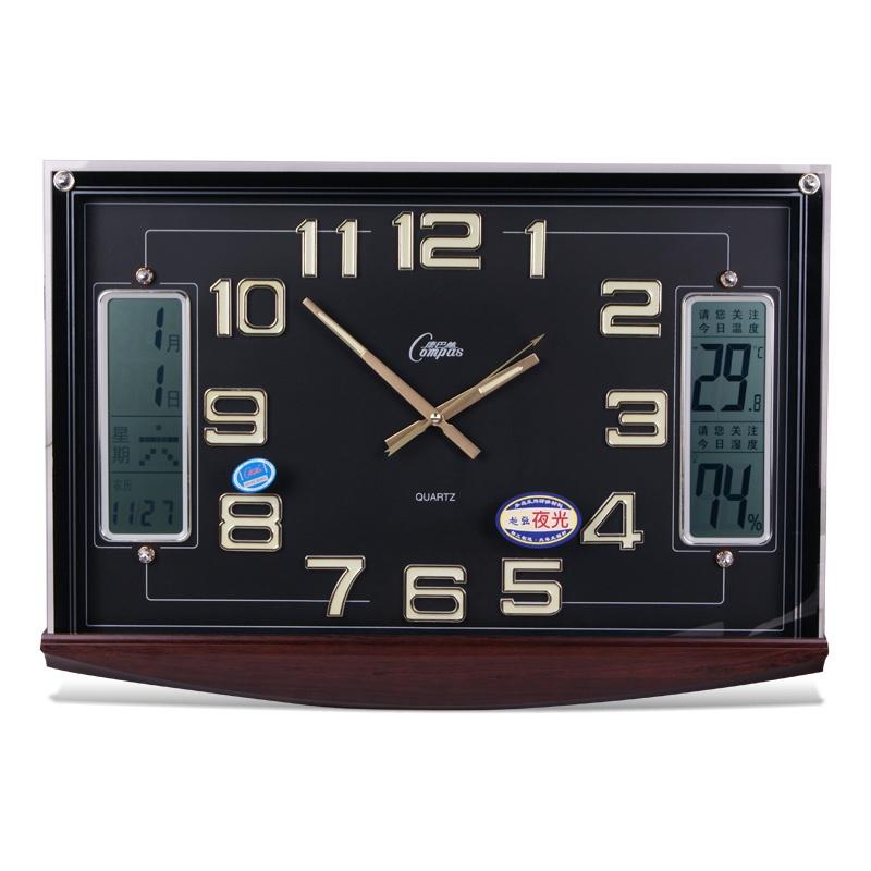 静音中式方形石英钟日历挂钟夜光数字钟表
