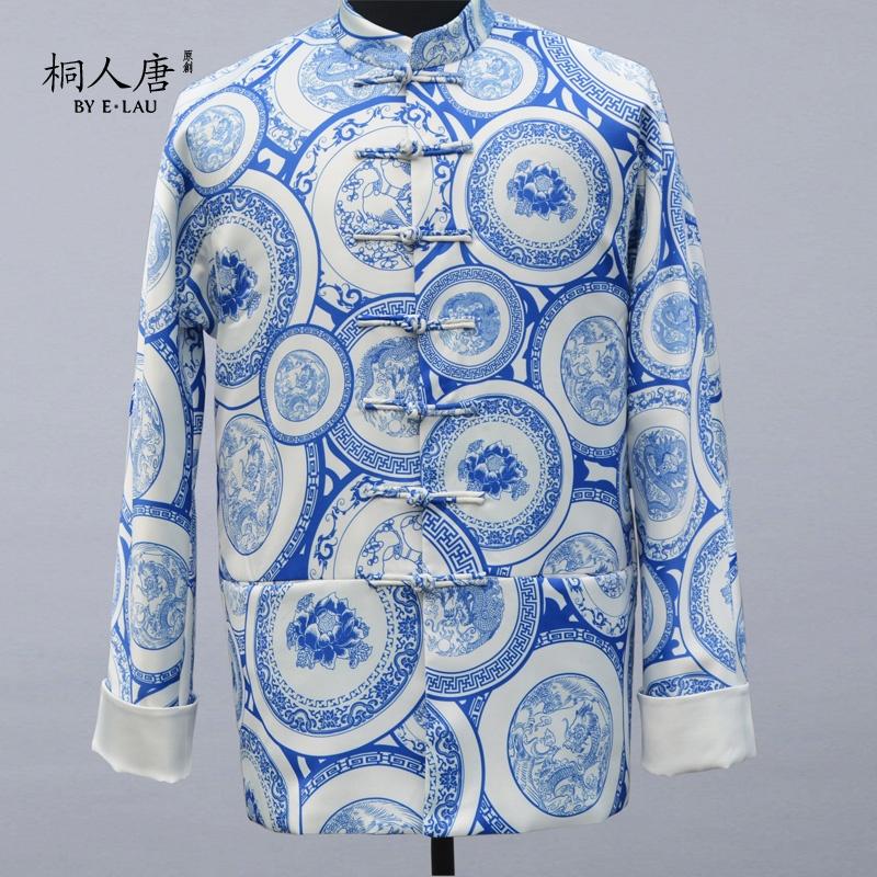 桐人唐原创 独家设计中国风青花瓷印花男士棉衣外套上衣秋冬新