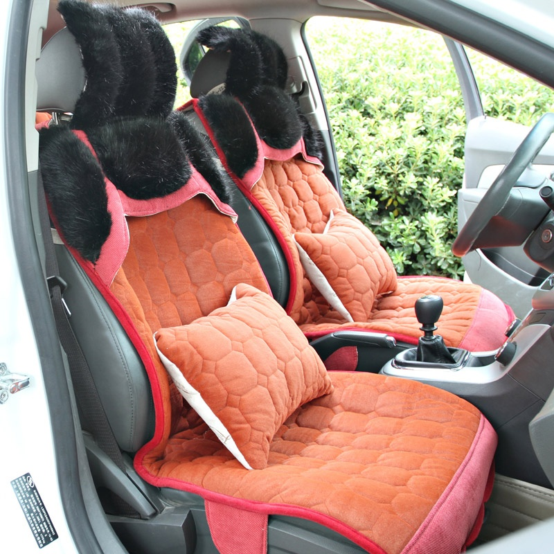 驰航 汽车坐垫冬季新款 仿狐狸毛座垫 高档毛绒坐垫车椅垫_时尚橙红色