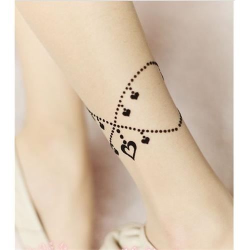脚裸假纹身丝袜刺青女超薄连裤袜子提花星星