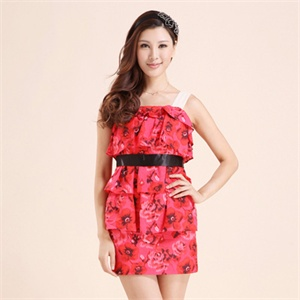 三彩正品女装2013新款春装 吊带连衣裙红色收腰礼服裙S121323L40