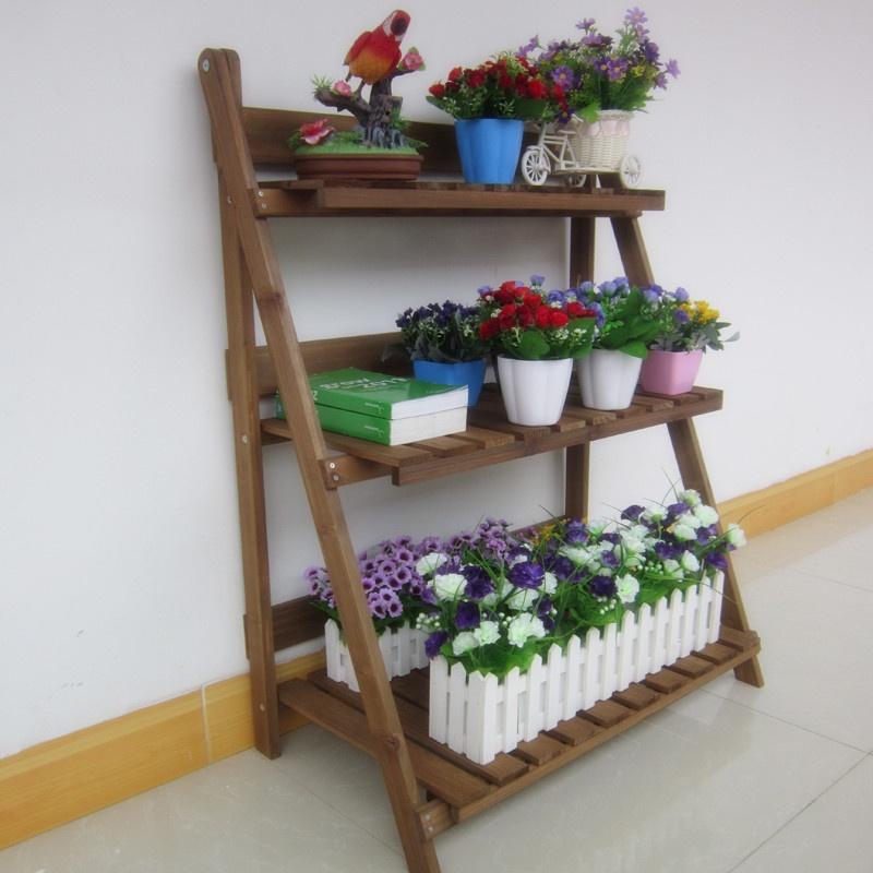 花架实木质木制花盆架书架