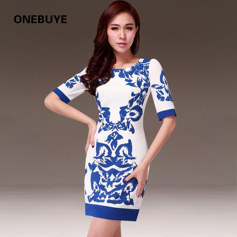 复古中国风水墨花纹图案撞色拼接气质中袖圆领包臀修身显瘦连衣裙