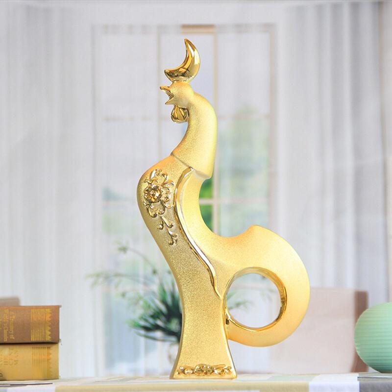 家居摆件陶瓷现代欧式工艺品金鸡创意装饰新迁创业招财风水摆设品图片