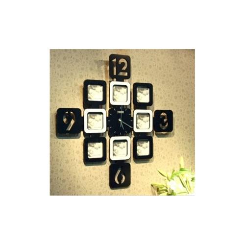 创意九宫格相框挂钟装饰挂钟创意挂钟_黑 白