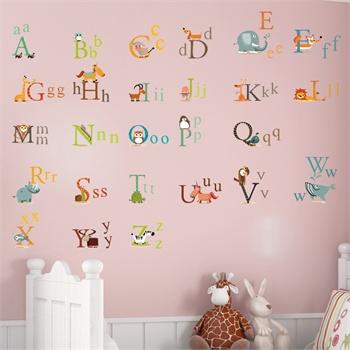 卧室儿童房可爱卡通装饰墙贴纸墙壁贴墙画-动物字母