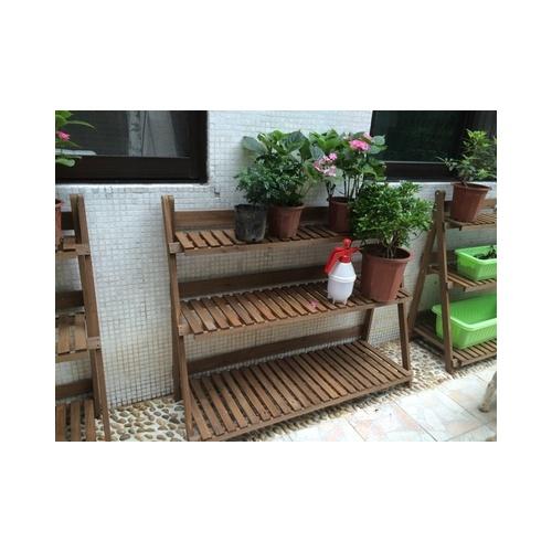 zakka三层多层实木仿古白色花架可折叠阶梯梯形多肉植物落地花盆架
