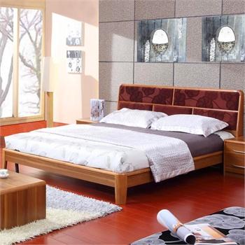 派森家具 简约时尚 进口实木框架软包双人床 婚床 布艺床头板式木床