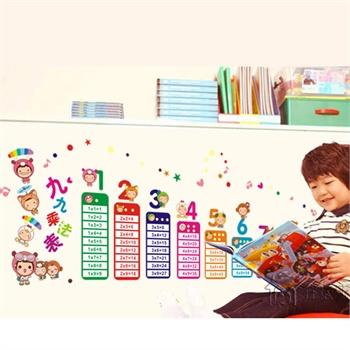 教室布置卧室儿童房可爱卡通 装饰墙贴纸墙壁贴墙画-乘法字母表