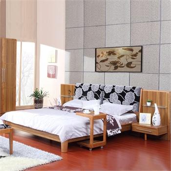 派森家具 现代简约 1.8*2米板式床 双人床 排骨架木床