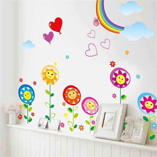 卧室儿童房可爱卡通 装饰墙贴纸墙壁贴墙画-彩虹笑脸