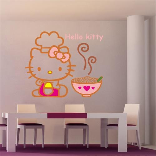 孖堡家居 diy可移除墙贴 可爱卡通卧室客厅点缀墙贴 玻璃贴壁贴 kitty
