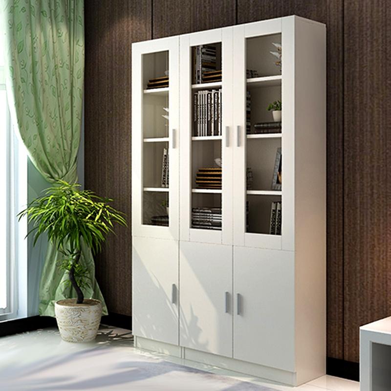 百意空间简约自由组合柜子 简易玻璃门柜子 书橱书架书柜 木质储物