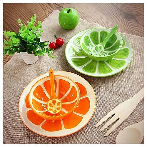 homee创意手绘水果系列餐具套装-西瓜(碗 盘子 勺子)创意家居