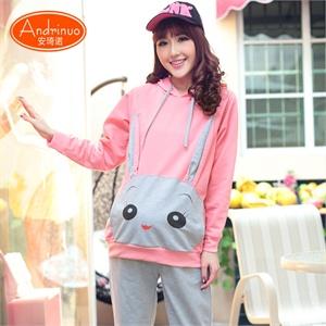 【8月热卖】Andrinuo 新款孕妇装 韩版卡通兔运动套装外出服 孕妇套装上衣+裤子