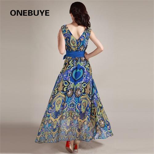 古典花纹图案无袖连衣裙