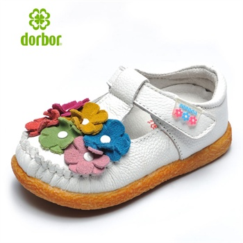 dorbor多步 2014春夏新款卡通可爱花朵儿童单鞋皮鞋 kids011_气质白色