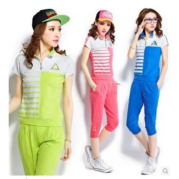 女夏装韩版运动休闲套装运动装夏季新款女式短袖运动套装