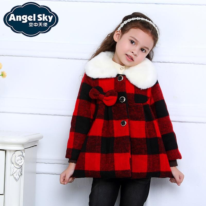 空中天使童装2014新款女童毛呢格子大衣外套冬装韩版可爱公主棉服570