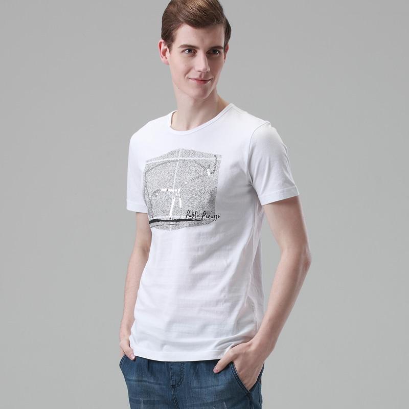konzen空间2014夏装新款潮衣服男士短袖t恤韩版亮片印花男装t恤衫