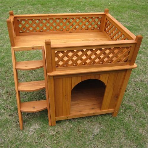 简易双层实木狗屋猫舍宠物屋狗窝带阳台楼梯猫笼小型