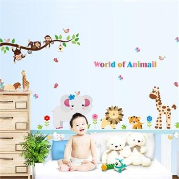 卧室儿童房可爱卡通 装饰墙贴纸墙壁贴墙画-动物世界