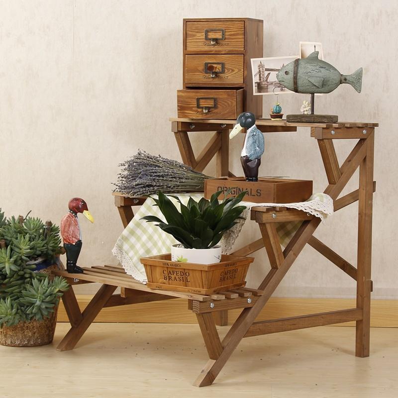 【巖軒花架/裝飾架】簡易實木木質木頭三層階梯廚房