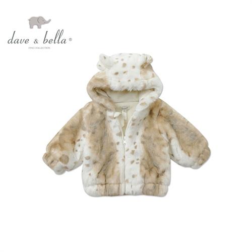 davebella男女宝宝冬季加厚保暖外出棉服外套 新生婴儿棉衣_雪豹,80cm