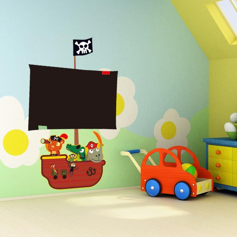 孖堡家居 diy可移除墙贴 室儿童房幼儿园海盗船长墙纸墙贴 写字黑板
