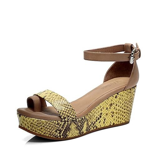 【millies/妙丽夏季混合材料皮凉鞋lld23bl2图片】图