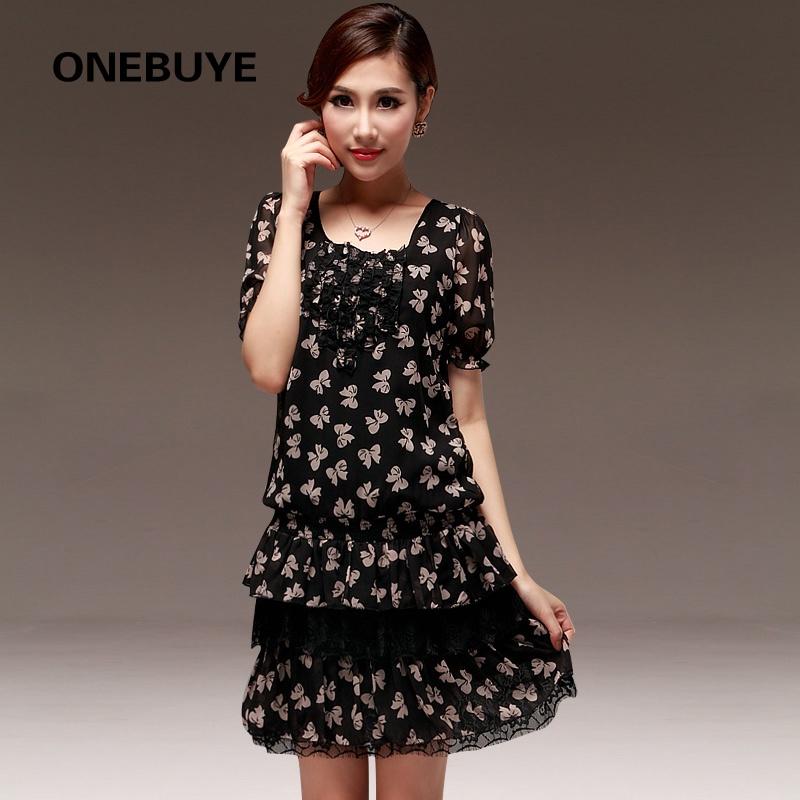 萌系甜美气质可爱蝴蝶结花纹短袖连衣裙