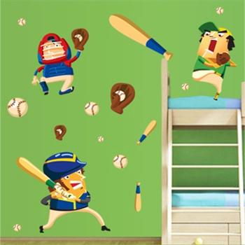 卧室儿童房可爱卡通装饰墙贴纸墙壁贴墙画棒球小子