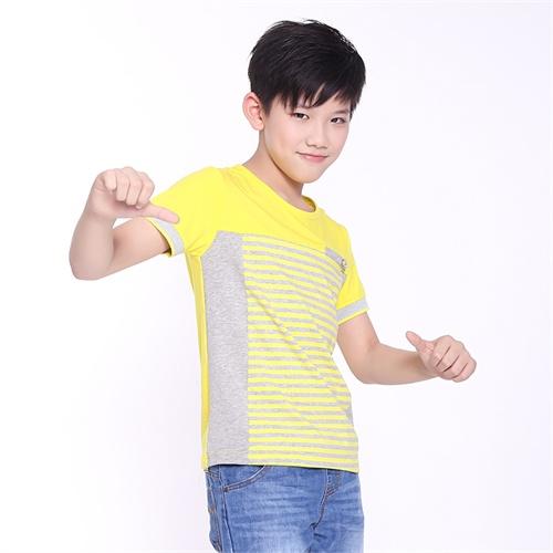 青蛙皇子童装2014新款男童条纹纯棉短袖t恤_黄色,170cm