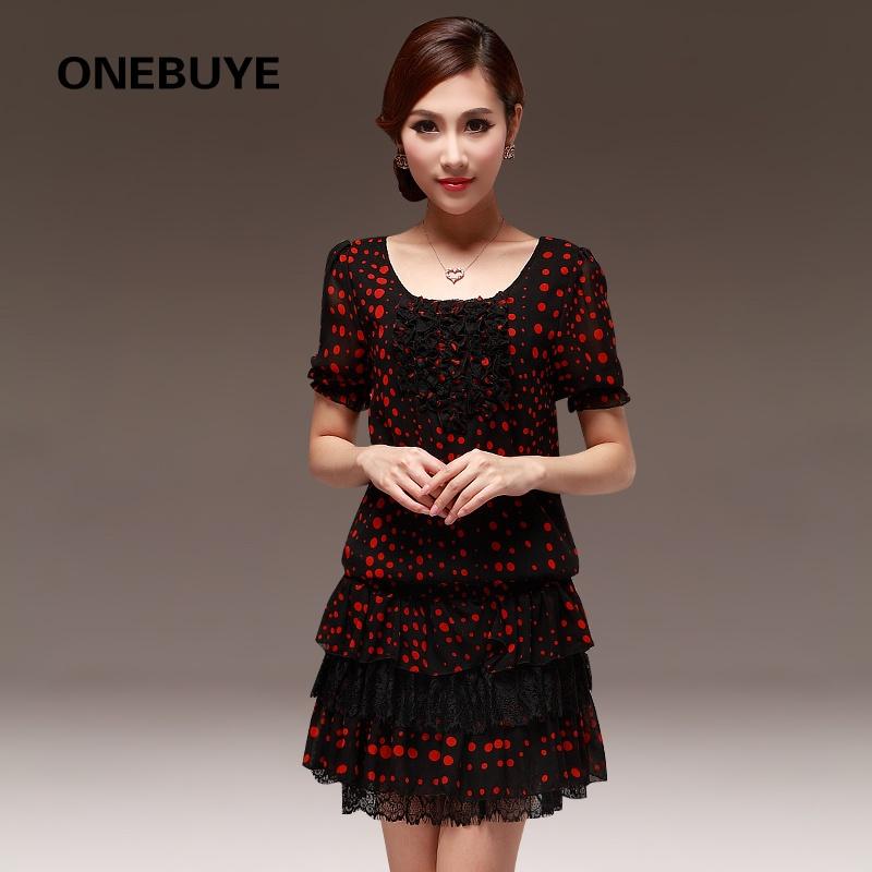 装饰萌系甜美气质可爱蝴蝶结花纹短袖连衣裙