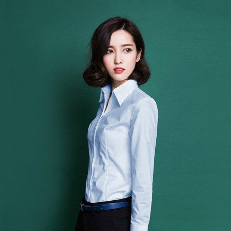 �9.��n�9�a��-yol_富绅商务女衬衫 女 长袖ol通勤白色职业免烫长袖衬衫0