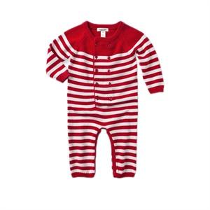 davebella 2014春秋新款经典条纹纯棉针织宝宝保暖连体衣/婴儿长爬 168