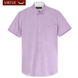 新款 富绅商务休闲斜纹男士短袖衬衫 男 短袖纯色修身衬衣00C166S